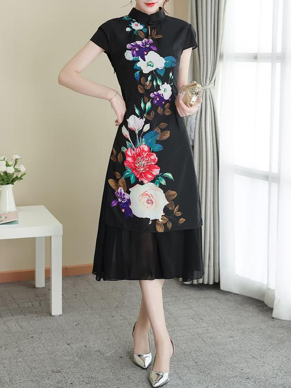 Women Mandarin collar Flowers Short Sleeve Maxi Dress