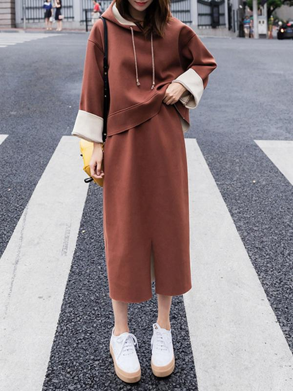 Women Plus Size Long Sleeve Hoodies Dress Two-pieces Outfits
