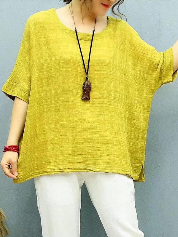 JACQUARD SOLID COLOR SIDE SPLITED HALF SLEEVE CASUAL T-SHIRTS
