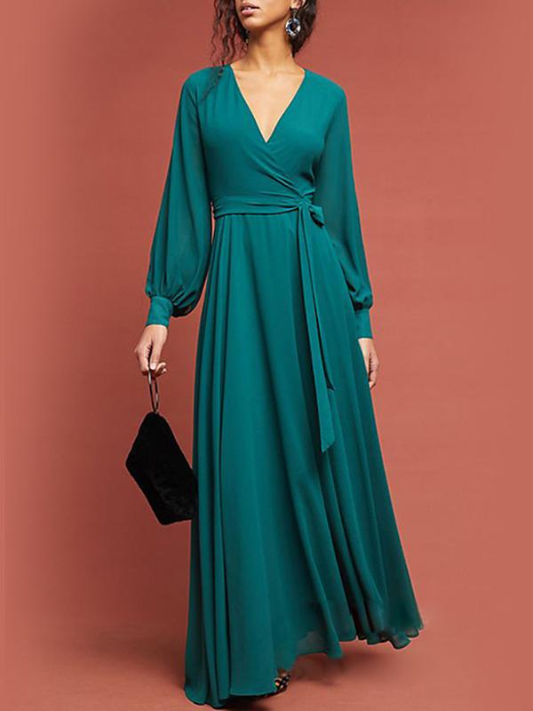 Women V-Neck Chiffon Holiday Maxi Dresses