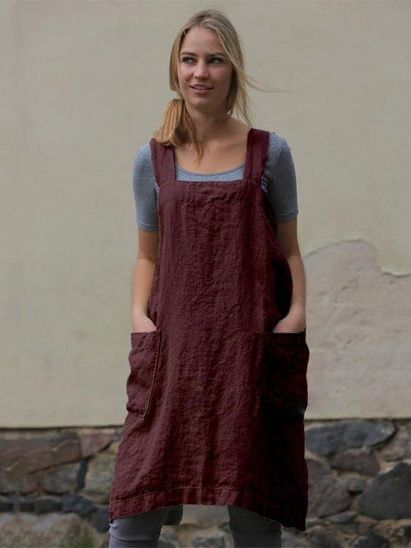 Solid Apron Linen & Cotton Loose Dresses