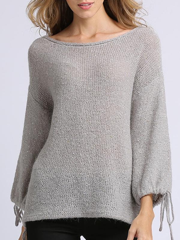 Women Casual Boat Neck Knit Tops Drawstring Tops