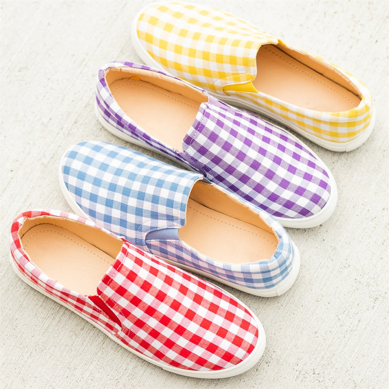 Women Plaid Slip-On Flat Sneakers