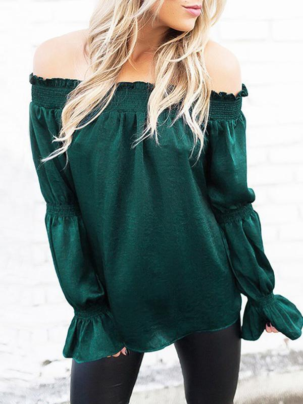 Women Bell sleeve Sexy off-shoulder Tops