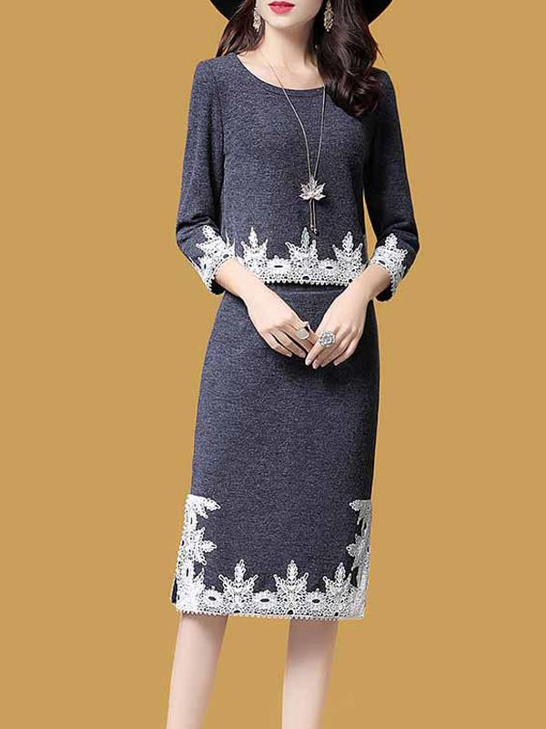 Women Embroidery Knitted Suit Skirt