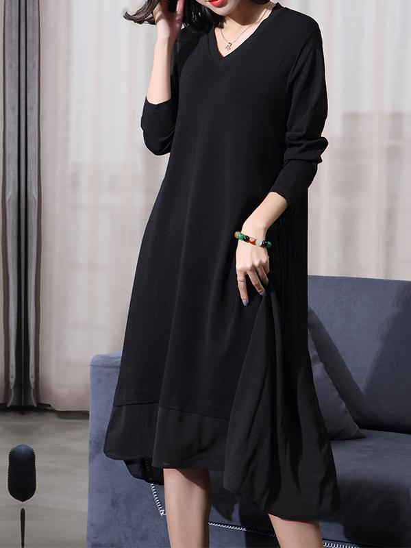 Women Knit Long Sleeve Midi Black Dresses