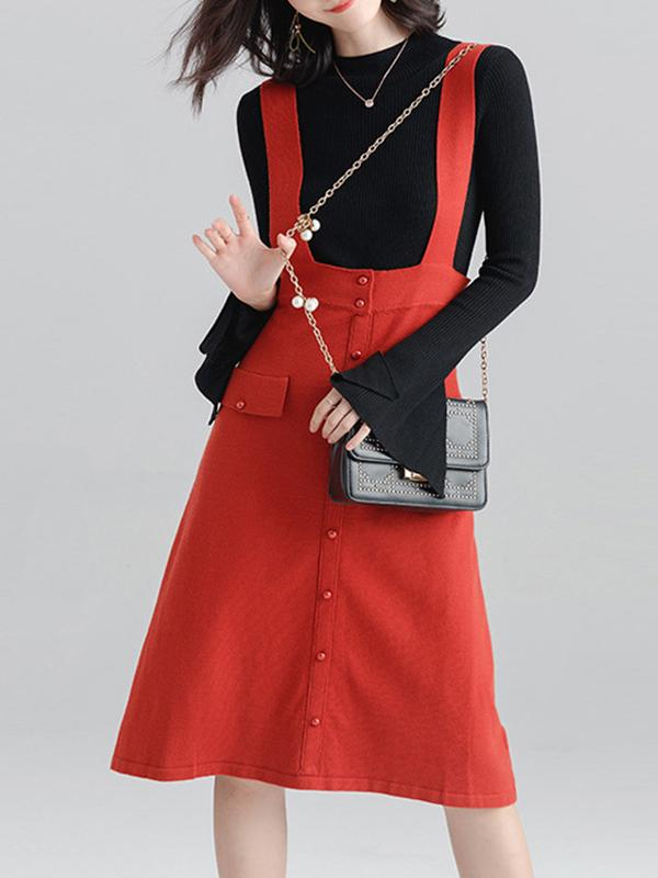 Women Casual  High Waist Strap Skirt Knit Skirt