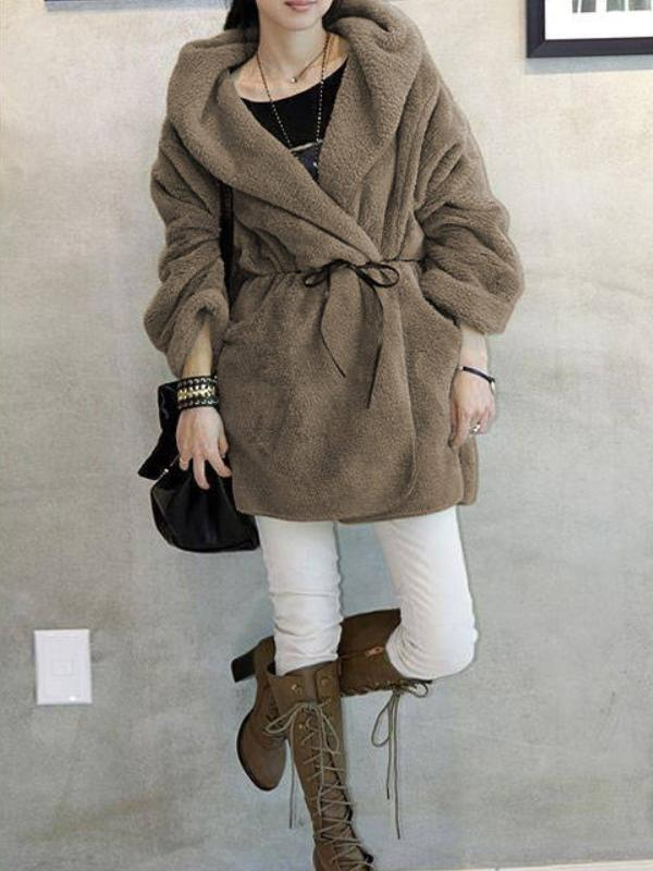 Women's Coat Sweet Style Loose Long Sleeve Solid Midi Teddy Bear Coat