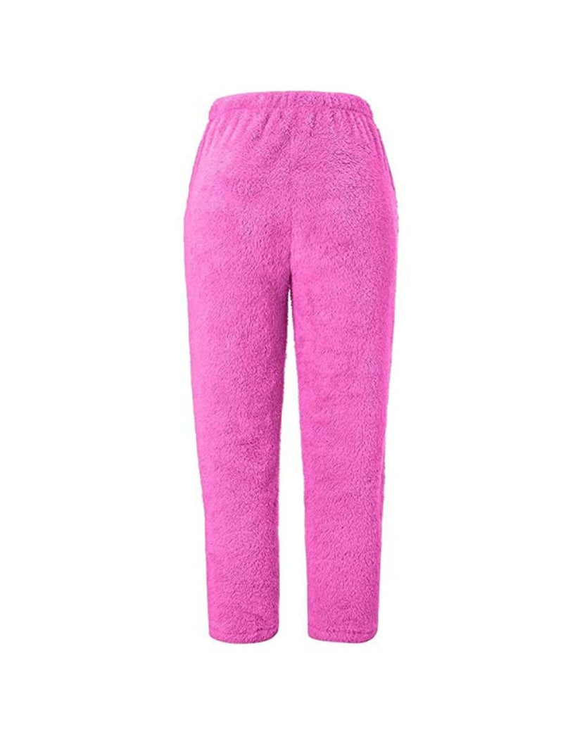 Women Cony Hair Casual Paneled Pants