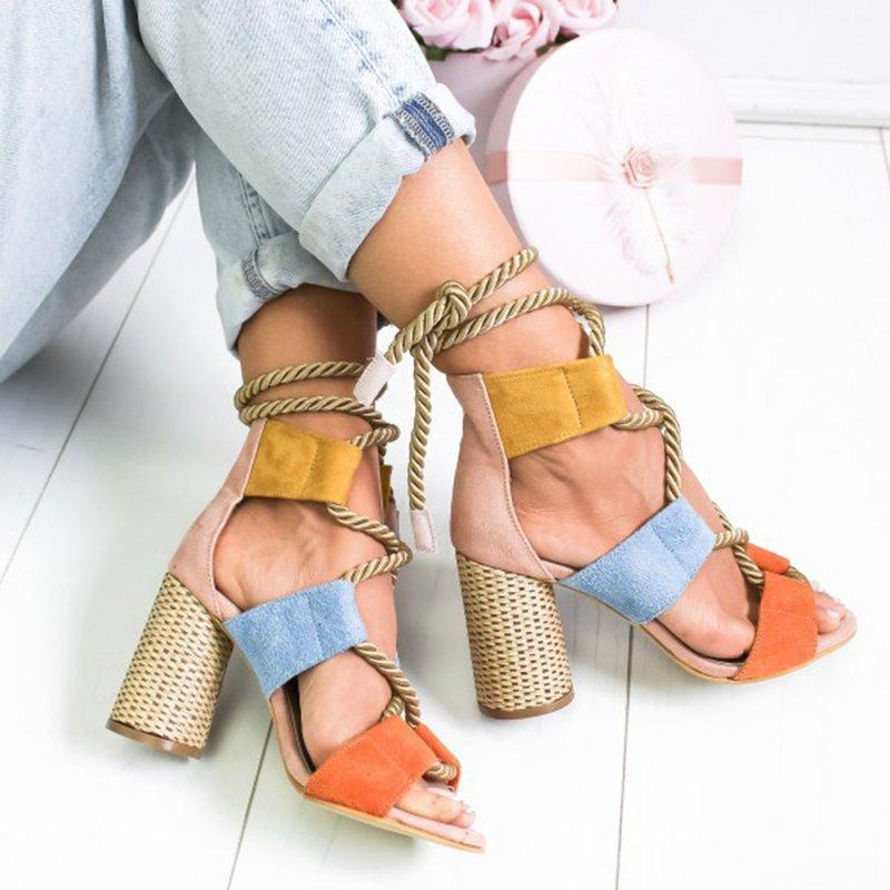 Women Casual Suede High Heel Lace Up Sandals