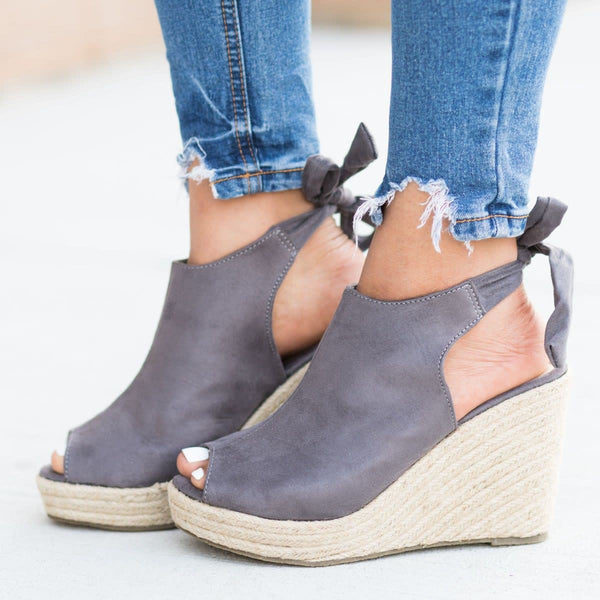 Back-Knot Espadrille Wedges Summer Sandals