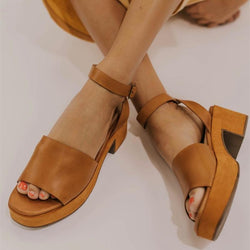 Women Peep Toe Magic Tape Wedges Crossed Sandals