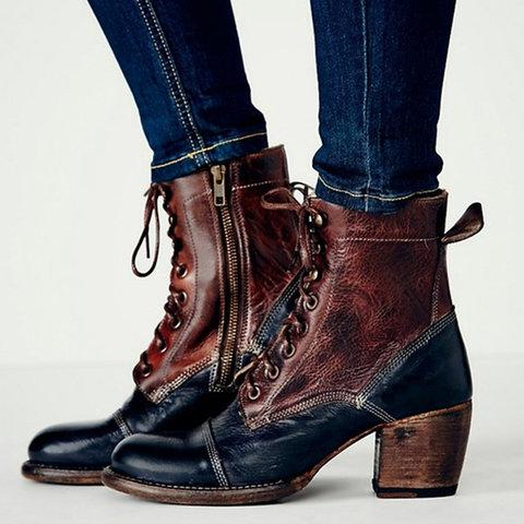 Women Vintage Ankle Buckle Boots Casual Side Zipper Boots