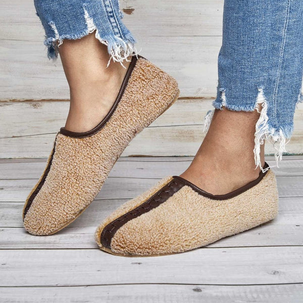 Women Soft Curly Plush Slip On Warm Loafers