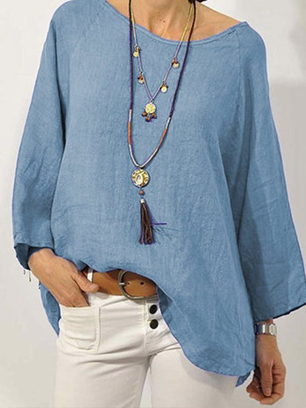 SOLID LONG SLEEVE LINEN CASUAL TOPS