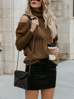 Women Solid Cold Shoulder Knitted Turtle Neck Long Sweater