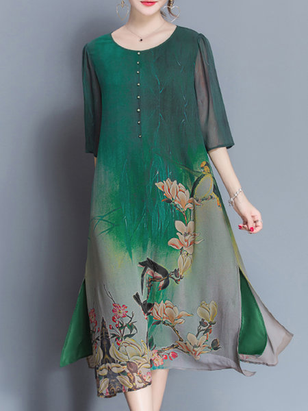 Green Asymmetrical Women Going out Elegant 3/4 Sleeve Slit Elegant Dress