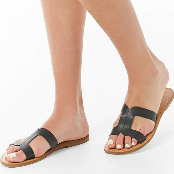 Women Cutout Flat Heel Slippers Open Toe Slide Sandals Summer Shoes