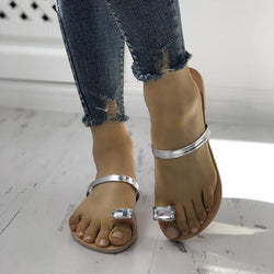Women Concise Rhinestones Toe Ring Flat Sandals Slippers