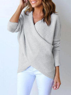 Women Surplice Curved Hem Long Sleeve Sweater