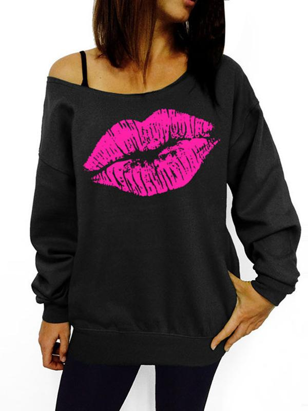 Women Daily Casual Oblique Shoulder Lip/Hook Print Sweatshirts Pullover Tops