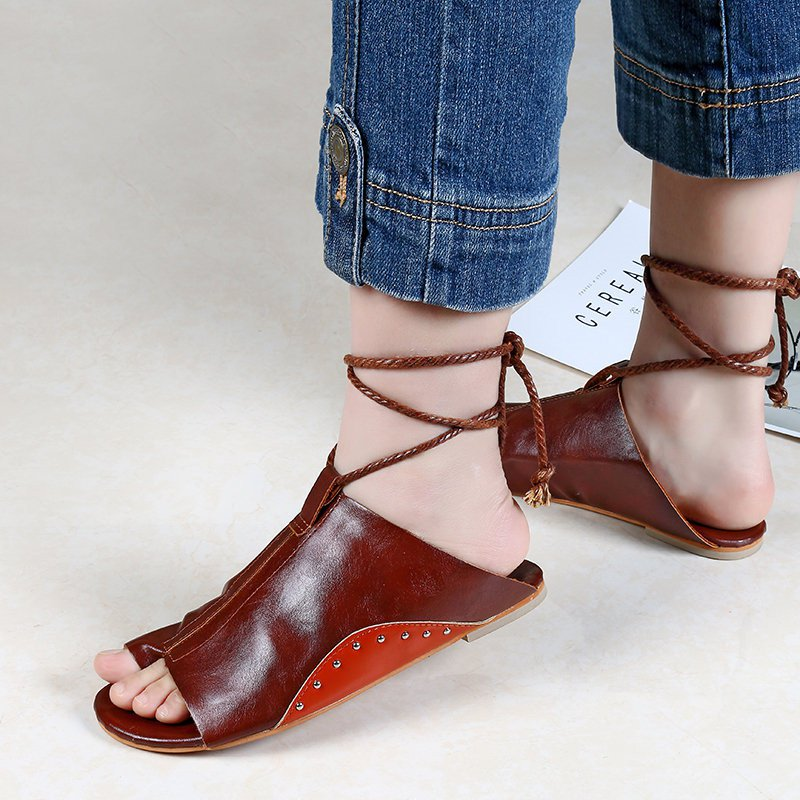 Large Size Lace-up PU Casual Open Toe Sandals
