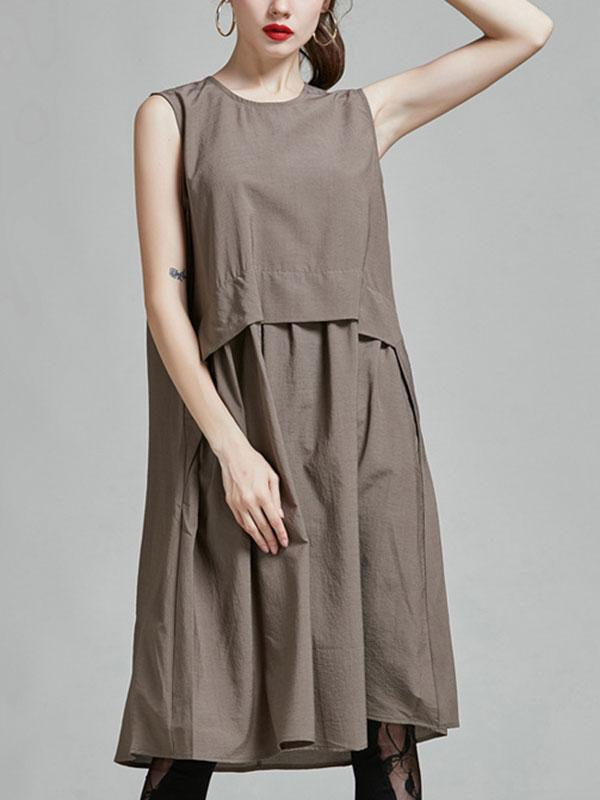 CASUAL SLEEVELESS SOLID COLOR DRESS