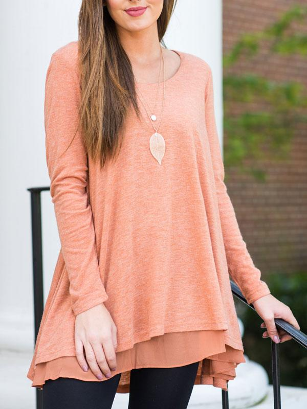 ASYMMETRIC SOLID COLOR LONG SLEEVE CASUAL DRESS