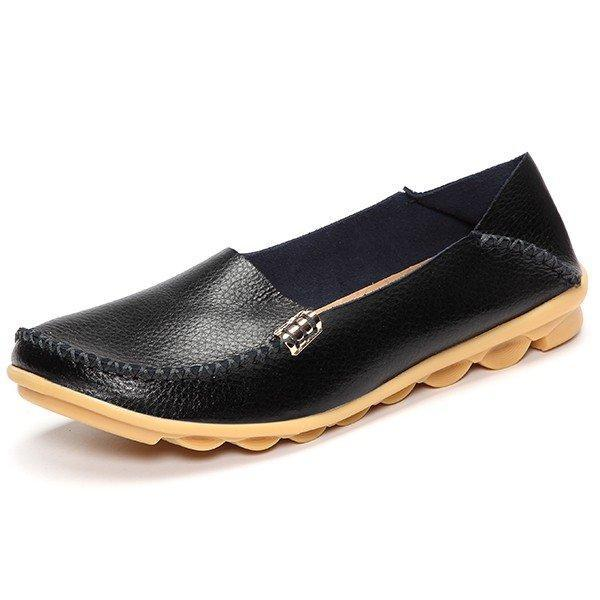 Big Size Pure Color Soft Slip On Leather Casual Comfortable Lazy Women Flat Shoes