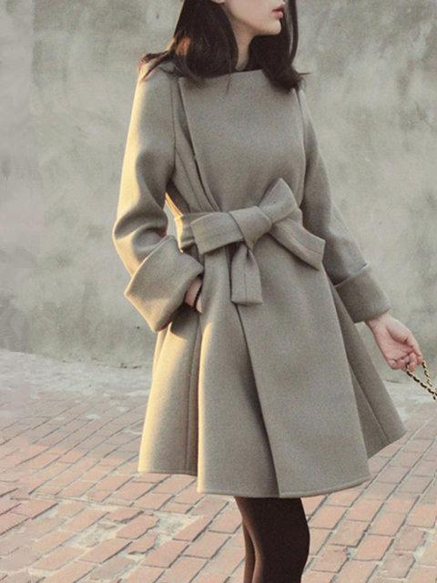 Women's Wool Coat Solid Long Sleeve Bow Coat