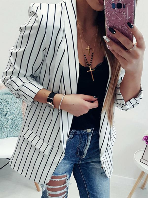 Women's Fashion Slim Suit Striped Blazers