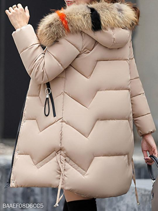 Women Hooded Fur Collar Plain Coat