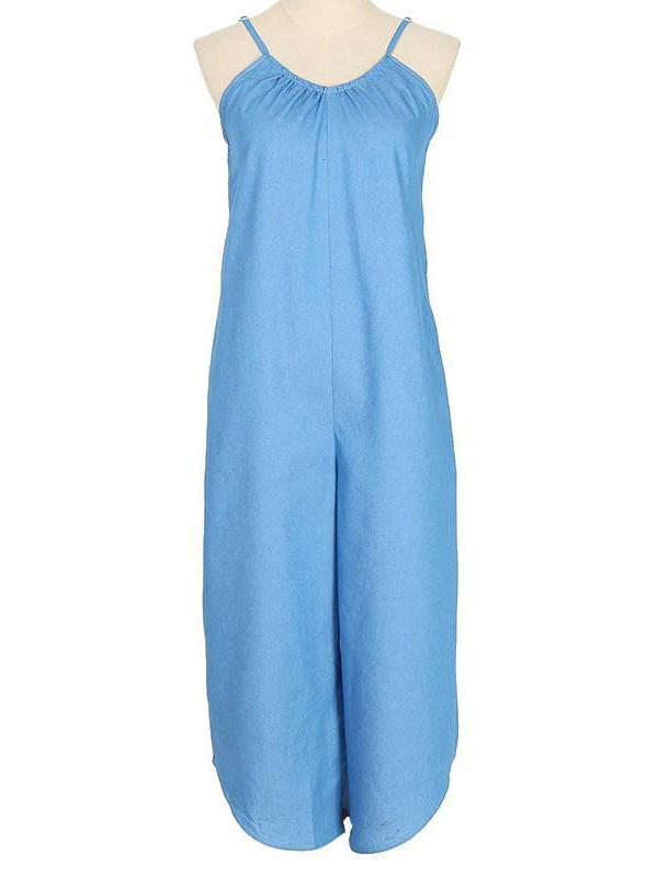 Blue Wide Leg Women's Cami Jumpsuit With Pocket