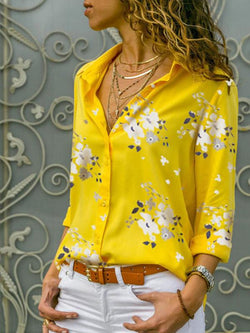 Floral Print V Neck Long Sleeve Women's Shirt