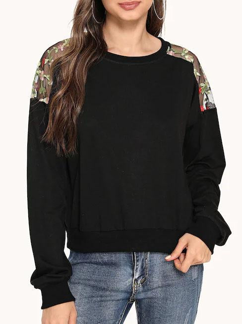 Women Embroidered Mesh Shoulder Sweatshirt