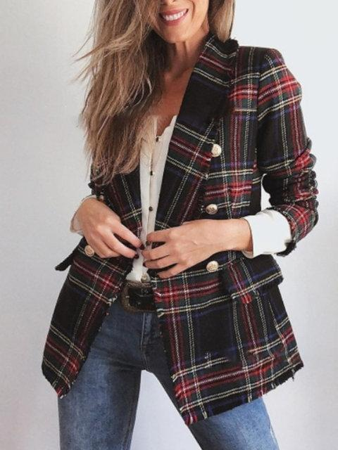 Lapel Buttoned Pockets Gingham Elegant Coats Blazers