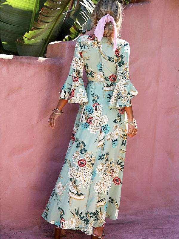 Women Holiday Printed Dresses Beach Maxi Dresses