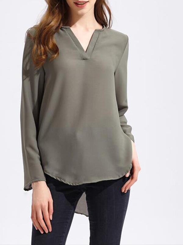 Solid V Neck Loose Chiffon T-shirts For Women