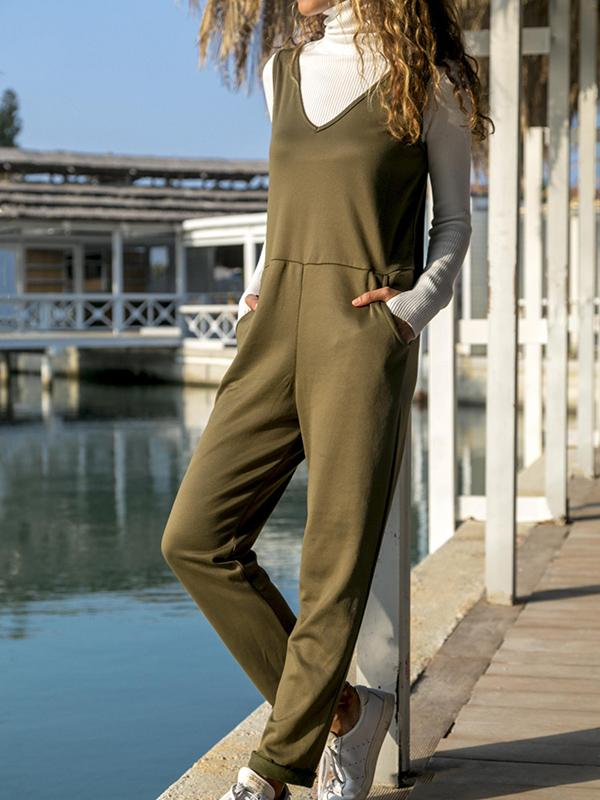 Solid V Neck Women's Jumpsuits With Pocket