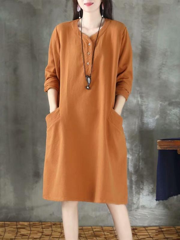 Women Round Neck Long Sleeve Cotton And Linen Midi Dress