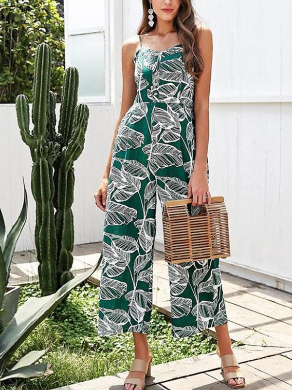 Women Strap Tropical Smocking Button Wide Leg Casual Print Overall Jumpsuit
