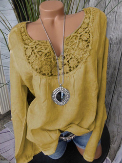 V NECK PANELED LACE PLUS SIZE SOLID BLOUSE