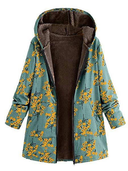 Women Floral Printed Zipper Hoodie Coat