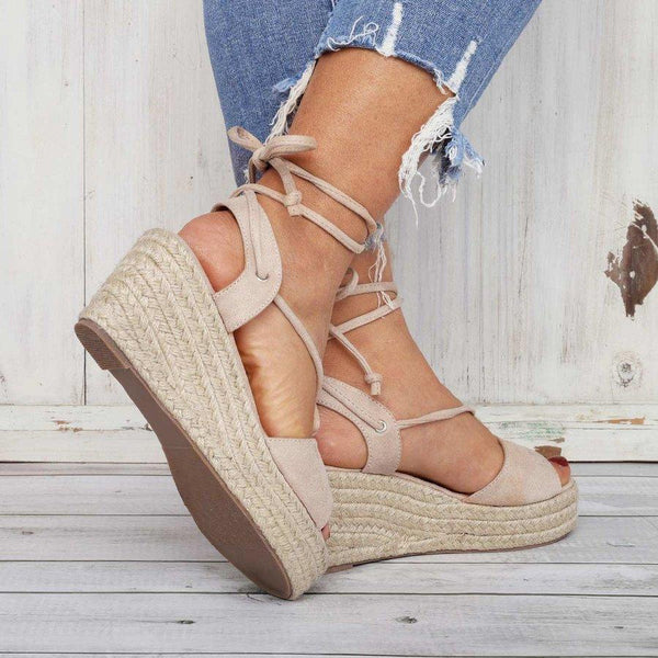 Summer Lace-Up Sandals Espadrilles Women Wedge Sandals