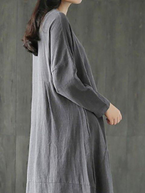Women Daily Casual Cotton Long Sleeve Solid Casual Dress