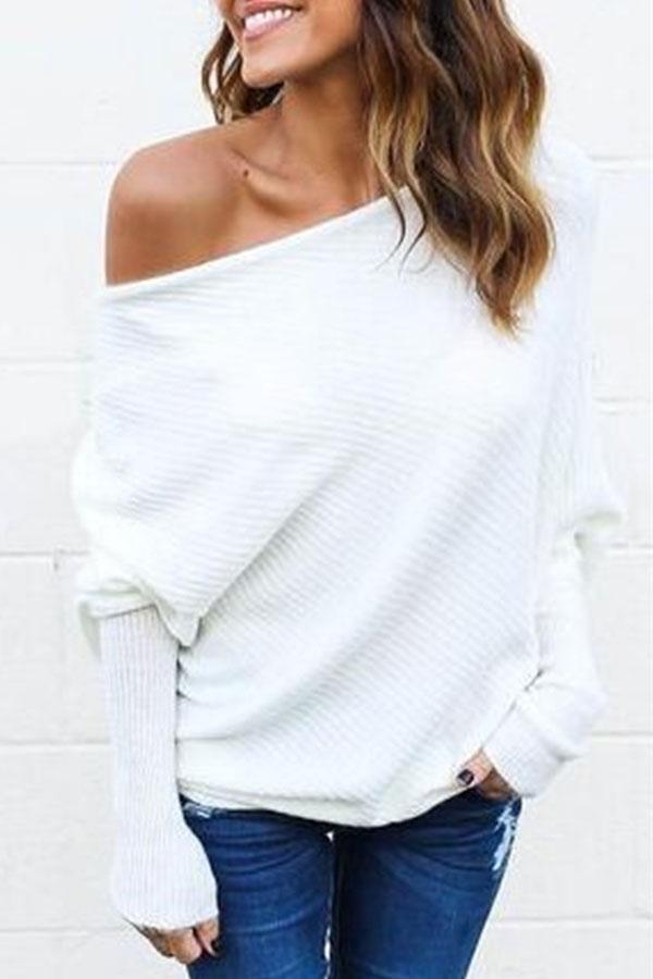 Women Open Shoulder Plain Batwing Sleeve Sweaters