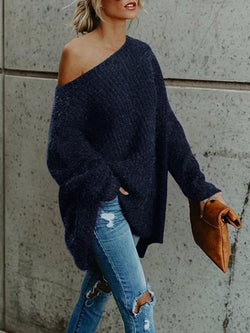 Women One Shoulder Loose Fitting Plain Sweaters