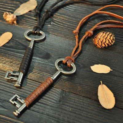 Solid PU Key-shaped Vintage Jewelry Necklace