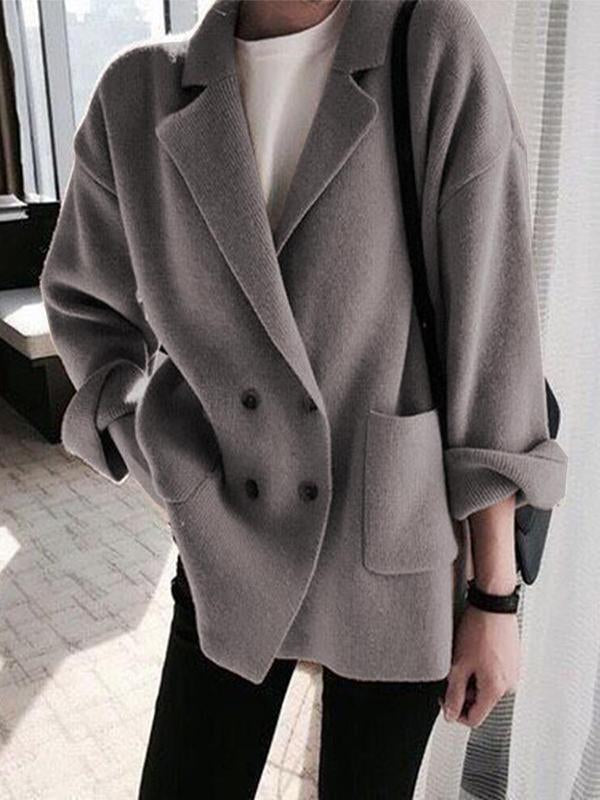 Women Lapel Coat Button Sweater Roll Sleeve Knitwear One Size
