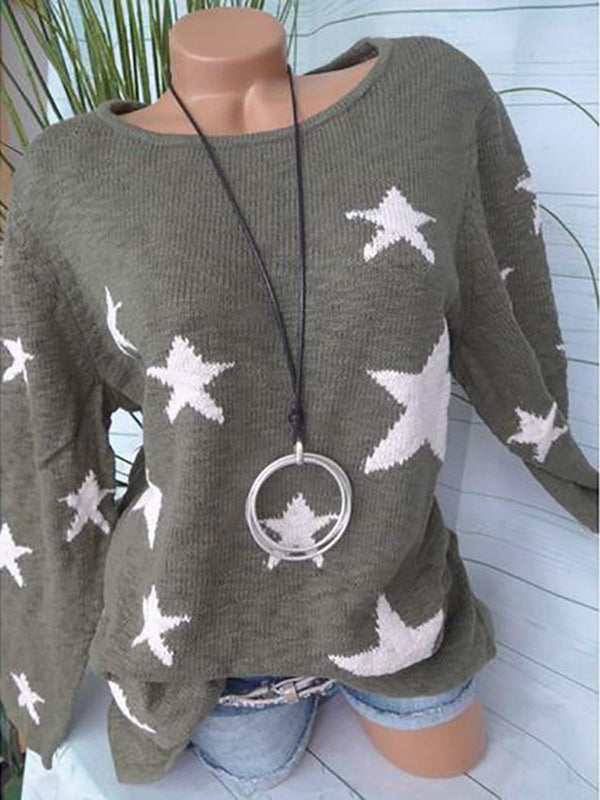 Women Long Sleeve Warm Sweater O-Neck Sexy Casual Loose Knit Five-Pointed Star Pattern Sweater
